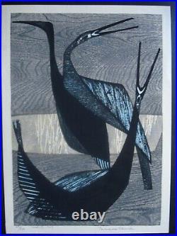 Tamami Shima woodblock, Japan, 1957,1st ed, 481/510, Birds listed, Published