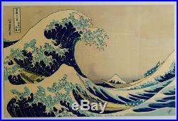 The great wave off kanagawa authentic japanese woodblock print by Hokusai