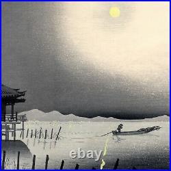 Tomikichiro TOKURIKI Biwa Lake at Night antique Japanese woodblock print