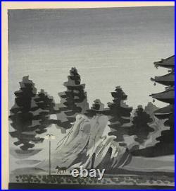 Tomikichiro Tokuriki Japanese Woodblock print Ukiyoe Nara Night temple