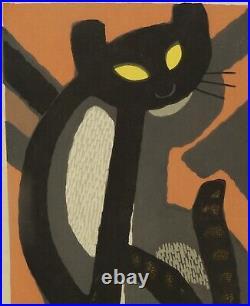 Tomoo Inagaki Long Tail Cat Woodblock Japanese Print Art 1982