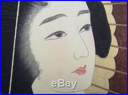 Torii Kotondo Kiyotada Woodblock Print Rain Ame From 12 Aspects of Women Ukiyoe