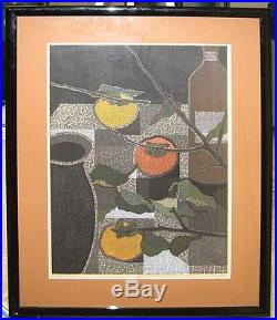 Toru Mabuchi 1962 Modernist Japanese Color Woodblock of Persimmons Listed