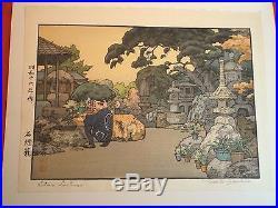 Toshi Yoshida (1911-95) orig. Japanese woodblock print Stone Lanterns MINT