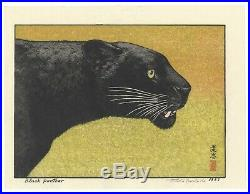 Toshi Yoshida, Black Panther, Animal Print, Original Japanese Woodblock Print