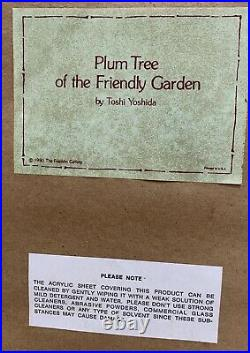 Toshi Yoshida Friendly Garden Triptych Woodblock Prints Framed. 1980 Set Of 3