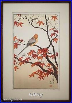 Toshi Yoshida Japanese Woodblock Bird in Autumn, Fine, Beautiful & Framed