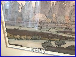 Toshi Yoshida Japanese Woodblock Print Hikone Morinj In Spring Vintage Japan Art