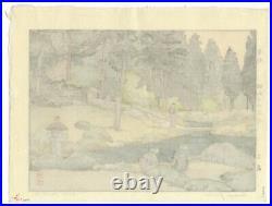 Toshi Yoshida, Linnoji Garden, Modern Landscape, Original Japanese Woodblock Print