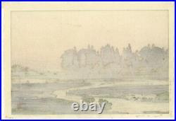 Toshi Yoshida, Morinji in Spring, Landscape, Original Japanese Woodblock Print