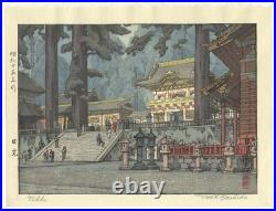 Toshi Yoshida, Nikko Shrine, Modern Landscape, Original Japanese Woodblock Print