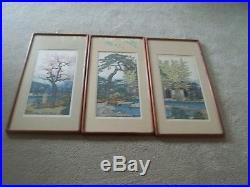 Toshi Yoshida Set of 3 Woodblock Print Friendly Garden Japanese Pine Bamboo Plum