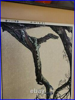 Toshi Yoshida Wood Block Print Signed PreOwned Plum Tree and Blue Magpie