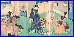 Toyokuni III, Kimono, Beauty, Original Japanese Woodblock Print, Ukiyo-e, Edo