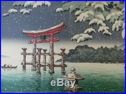 Tsuchiya Koitsu Japanese Woodblock Oban Snow at Miyajima Japan