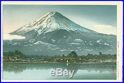 Tsuchiya Koitsu Japanese Woodblock Print Kawaguchi, Mt. Fuji Early postwar