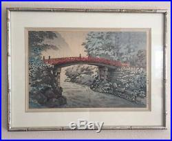 Tsuchiya Koitsu Red Bridge Japanese Woodblock Print Japan