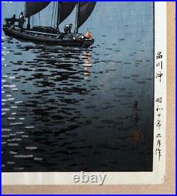 Tsuchiya Koitsu The Coast Of Shinagawa Antique Japanese Woodblock Print