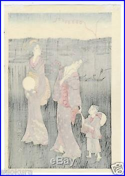 UTAMARO JAPANESE Triptych Hand Printed Woodblock Print Fireworks at Ryogoku