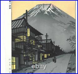 Ukiyo-e Japanese Woodblock Print Kasamatsu Shiro Fuji Yoshida Nishiki-e Showa EX