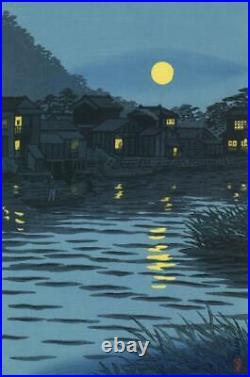Ukiyo-e Japanese Woodblock Print Kasamatsu Shiro Katasegawa Moonrise Nishiki-e