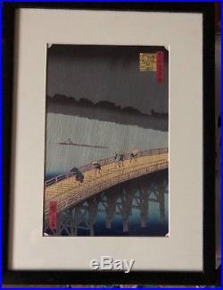 Utagawa Hiroshige Japanese Woodblock Ohashi Bridge at Atake summer Shower 1857