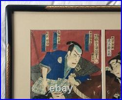 Utagawa Kunisada III triptych. Japanese Meij woodblock print, Kabuki actors 1884