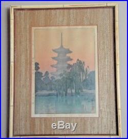 VTG'Pagoda in Kyoto' 1942 Japanese Framed Woodblock Print by Toshi Yoshida