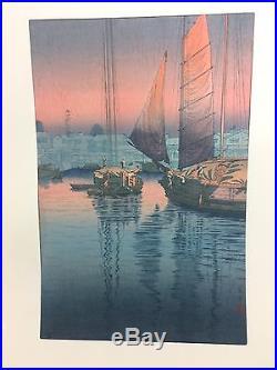 Very Nice Tsuchiya Koitsu Sunset Tomonotsu Inland Sea Japanese Woodblock Print