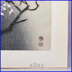 Vintage 1950s Eiichi Kotozuka Japanese Woodblock Print Spring Cherry Blossoms