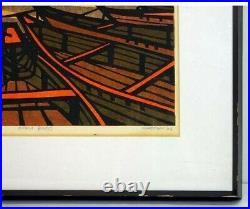 Vintage 1966 KARHU CLIFTON GIFU BOATS Ukiyo-e Nishiki-e Woodblock Print