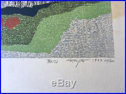 Vintage 1969 Japanese WOODBLOCK Print HORSES Fumio FUJITA- Signed 117/200