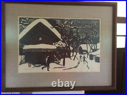 Vintage 40's 50's Japanese artist KIYOSHI SAITO Aizu Skiers Woodblock PRINT