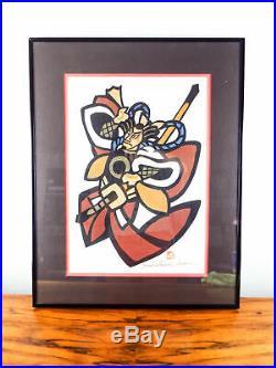 Vintage 70s Japanese Samurai Woodblock Print Original Signed Art Yoshitoshi Mori
