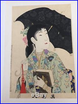 Vintage Chikanobu Yoshu Original Japanese Woodblock Print, a Lady with Umbrella