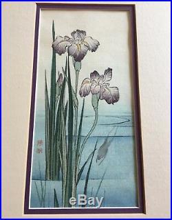 Vintage Gyosui Suzuki Original Japanese Woodblock Rare Iris And Frog Framed