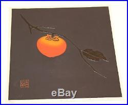 Vintage Haku Maki Japanese Embossed Woodblock Persimmon