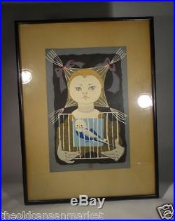 Vintage Japanese Sekino Junichiro Woodblock Print Girl WIth Bird Signed Seal