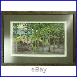 Vintage Japanese T. Yoshida Wood Block Print Bamboo Garden, Signed, circa 1930