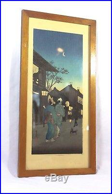 Vintage Japanese Wood Block Print Nighttime Street Scene