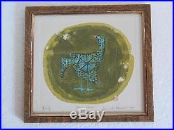 Vintage Japanese Woodblock Print Blue Bird Sgnd Joichi Hoshi 1970