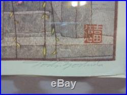 Vintage Signed JAPANESE WOODBLOCK Print TOSHI YOSHIDA Heirinji Temple Bell Art