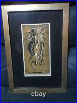 Vintage Tadashi Nakayama Armored Horse 1968 Woodblock print Signed Japan