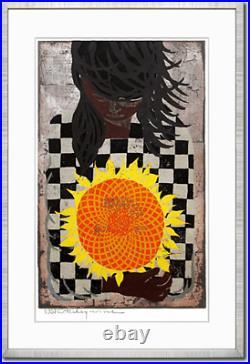 Vintage Tadashi Nakayama Girl with Sunflower 1957 Signed Japan Woodblock print