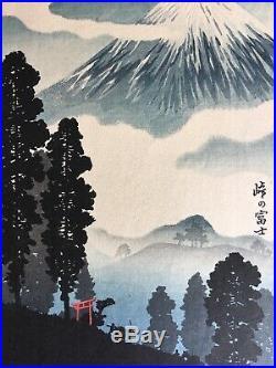 Vintage Takahashi Shotei Mount Fuji in Mist Japanese woodblock print