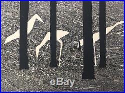 Vintage Tamami Shima Japanese Woodblock Print Birds Trees 41/100 1959 23 X 17