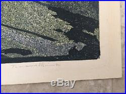 Vintage Tamami Shima Japanese Woodblock Print Birds Trees 68/100 1962 23 X 16