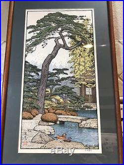 Vintage Toshi Yoshida Japanese Woodblock Pine Tree Friendly Garden Pencil Signed