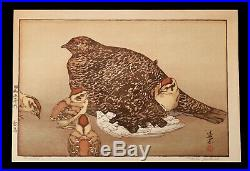 Vintage Toshi Yoshida Woodblock Print Japanese Rock Ptarmigan Raicho Birds Japan