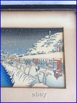 Vintage UTAGAWA HIROSHIGE Winter Landscape Japanese Woodblock Print